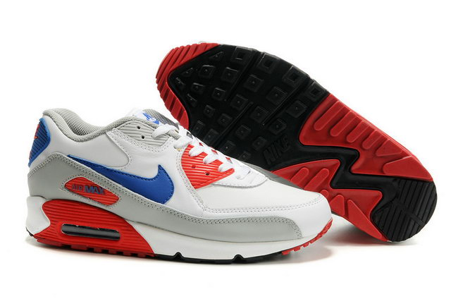 Mens Nike Air Max 90 Premium White Red Blue